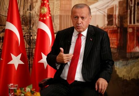 Turkish President Tayyip Erdogan speaks during an interview with Reuters in Istanbul