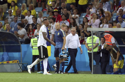 Germany's Jerome Boateng leaves the field after receiving a red card during the group F match between Germany and Sweden at the 2018 soccer World Cup in the Fisht Stadium in Sochi, Russia, Saturday, June 23, 2018. (AP Photo/Thanassis Stavrakis)