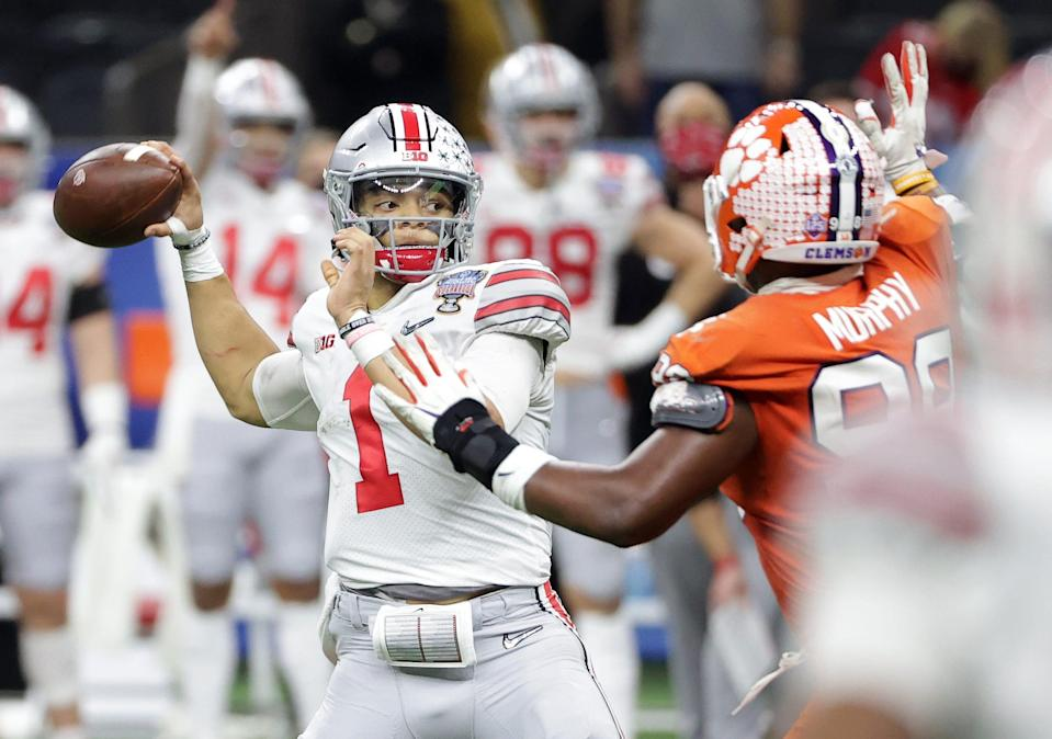 With Mac Jones expected to go third to the 49ers, Ohio State QB Justin Fields could be available for the Lions at No. 7.