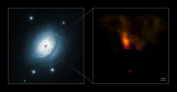 This composite image shows a view from the NASA/ESA Hubble Space Telescope (left) and from the NACO system on ESO's Very Large Telescope (right) of the gas and dust around the young star HD 100546. Image released Feb 28, 2013.