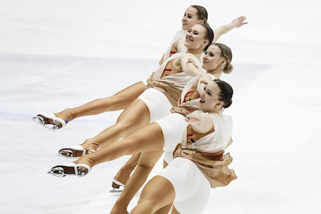 ISU World Synchronized Skating Championships 2019 - Short Program - Helsinki Ice Hall, Helsinki, Finland - April 12, 2019. Finalnd's Team Marigold IceUnity competes. Lehtikuva/Roni Rekomaa via REUTERS ATTENTION EDITORS - THIS IMAGE WAS PROVIDED BY A THIRD PARTY. NO THIRD PARTY SALES. NOT FOR USE BY REUTERS THIRD PARTY DISTRIBUTORS. FINLAND OUT. NO COMMERCIAL OR EDITORIAL SALES IN FINLAND.
