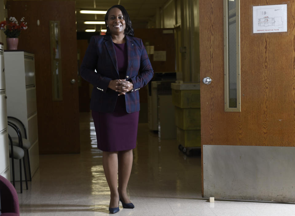 Camden City School District Superintendent Katrina McCombs poses for a portrait at the school district office, Wednesday, Oct. 21, 2020, in Camden, NJ. A complete picture has yet to emerge of how much learning was lost by students during the pandemic. (AP Photo/Michael Perez)