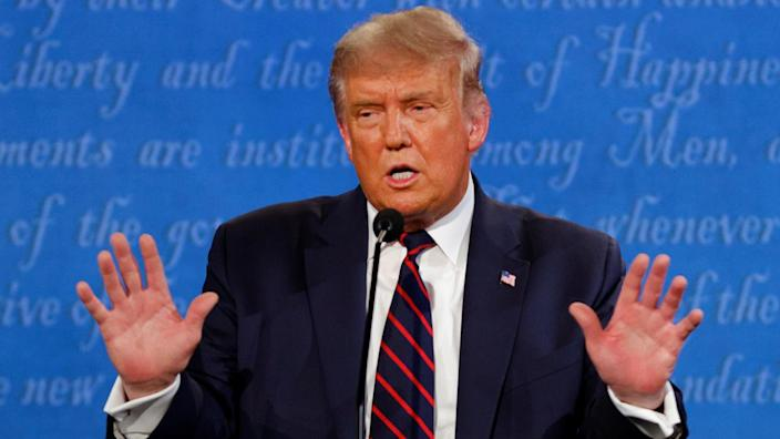 President Trump discussed his taxes at the first 2020 presidential campaign debate in Cleveland on Tuessday. (Brian Snyder/Reuters)