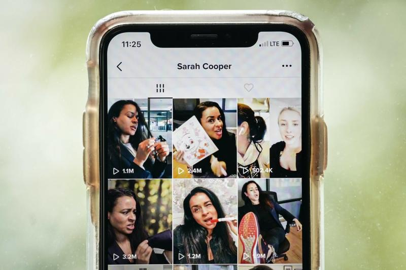 Smart phone screen showing thumbnails of video clips