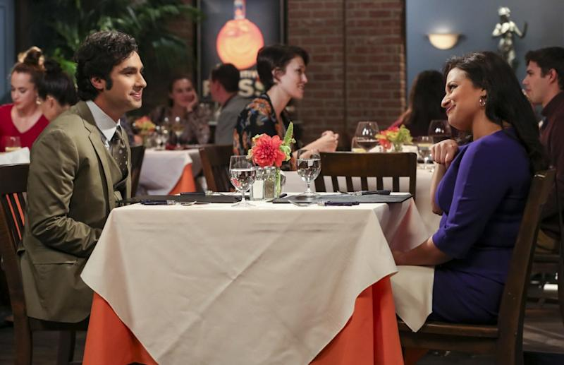 """The Procreation Calculation"" -- Pictured: Rajesh Koothrappali (Kunal Nayyar) and Anu (Rati Gupta). The Wolowitzes' life gets complicated when Stuart starts bringing his new girlfriend home. Also, Penny and Leonard talk about starting a family while Koothrappali explores an arranged marriage, on THE BIG BANG THEORY, Thursday, Oct. 4 (8:00-8:31 PM, ET/PT) on the CBS Television Network. Keith Carradine returns as Penny's father, Wyatt. Photo: Michael Yarish/Warner Bros. Entertainment Inc. é 2018 WBEI. All rights reserved."