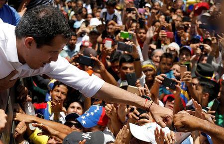 Venezuelan opposition leader Juan Guaido, who many nations have recognized as the country's rightful interim ruler, meets his supporters in El Tigre, Venezuela March 22, 2019. REUTERS/Carlos Jasso TPX IMAGES OF THE DAY
