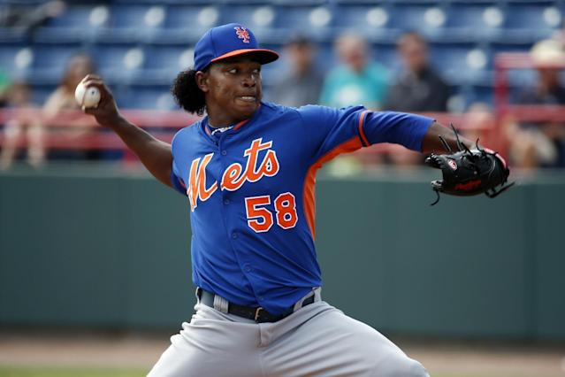 New York Mets starting pitcher Jenrry Mejia throws in the first inning of a spring exhibition baseball game against the Washington Nationals, Wednesday, March 5, 2014, in Viera, Fla. (AP Photo/Alex Brandon)