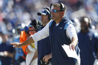 Tennessee Titans head coach Mike Vrabel watches from the sideline in the second half of an NFL football game against the Indianapolis Colts Sunday, Sept. 26, 2021, in Nashville, Tenn. (AP Photo/Wade Payne)