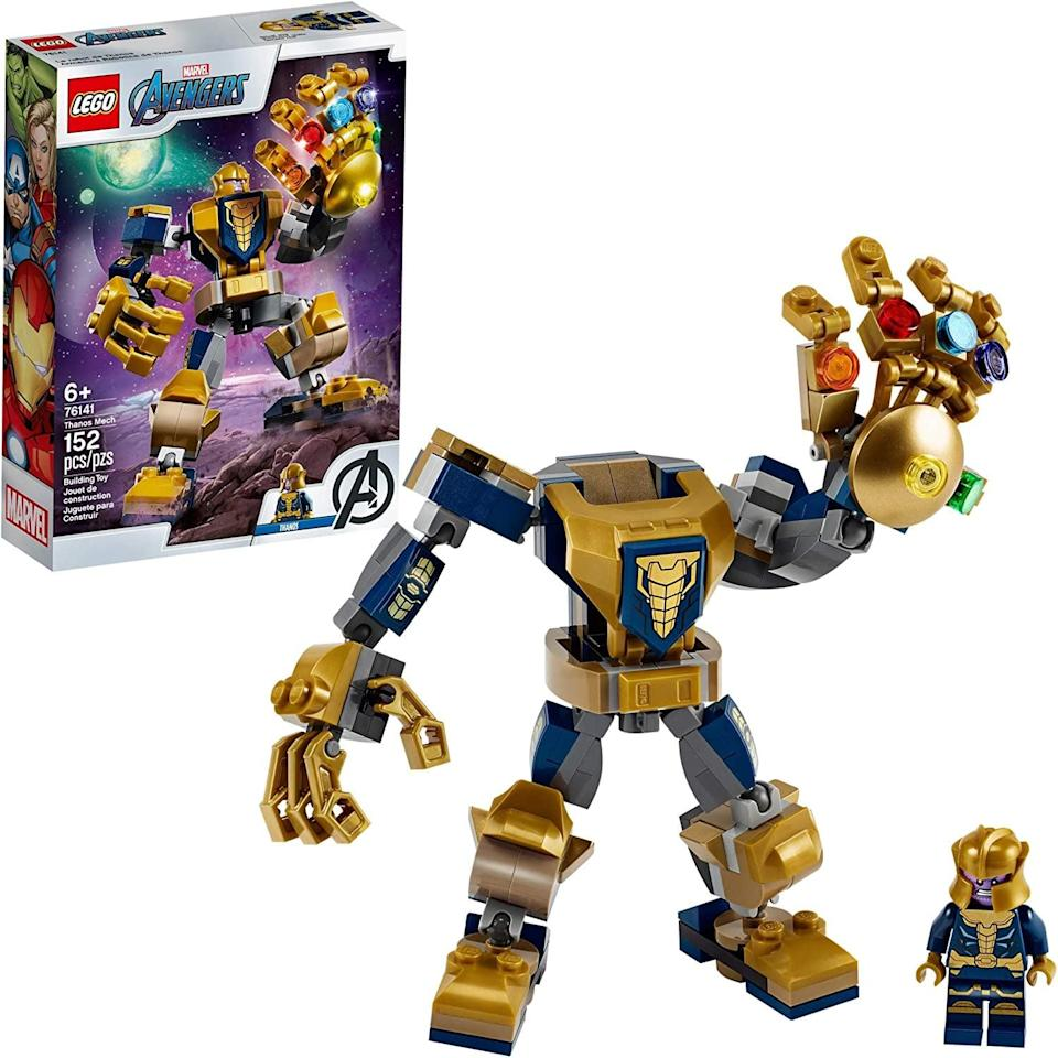 "<p>The <a href=""https://www.popsugar.com/buy/Lego-Avengers-Thanos-Mech-551168?p_name=Lego%20Avengers%20Thanos%20Mech&retailer=amazon.com&pid=551168&price=10&evar1=moms%3Aus&evar9=47244751&evar98=https%3A%2F%2Fwww.popsugar.com%2Ffamily%2Fphoto-gallery%2F47244751%2Fimage%2F47244777%2FLego-Avengers-Thanos-Mech&list1=toys%2Clego%2Ctoy%20fair%2Ckid%20shopping%2Ckids%20toys&prop13=api&pdata=1"" class=""link rapid-noclick-resp"" rel=""nofollow noopener"" target=""_blank"" data-ylk=""slk:Lego Avengers Thanos Mech"">Lego Avengers Thanos Mech</a> ($10) has 152 pieces and is best suited for kids ages 6 and up.</p>"