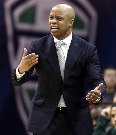 Eastern Michigan head coach Rob Murphy reacts in the second half of an NCAA college basketball game against Western Michigan at the Mid-American Conference tournament, Thursday, March 14, 2013, in Cleveland. Western Michigan won 70-55. (AP Photo/Tony Dejak)