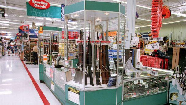 PHOTO: Guns for sale at a Wal-Mart, July 19, 2000. (Getty Images, FILE)