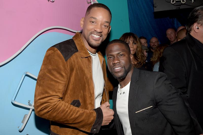 BURBANK, CALIFORNIA - APRIL 09: (EXCLUSIVE ACCESS, SPECIAL RATES APPLY) MTV Generation Award Honoree Will Smith (L) and host Kevin Hart pose backstage at the 2016 MTV Movie Awards at Warner Bros. Studios on April 9, 2016 in Burbank, California. MTV Movie Awards airs April 10, 2016 at 8pm ET/PT. (Photo by Jason Kempin/MTV1415/Getty Images for MTV)