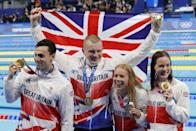 <p>Kathleen Dawson, Adam Peaty, James Guy and Anna Hopkin put on a spectacular swimming display in the 4x100m mixed medley relay final, finishing with a time of 3:37.58, ahead of China who won silver, and Australia who took home the bronze.</p>