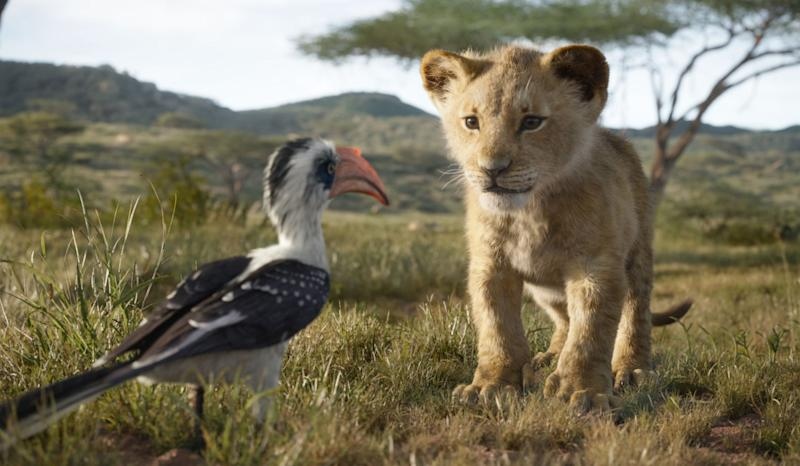 Young Simba (voiced by JD McCrary, right) chats with his dad's loyal majordomo Zazu (John Oliver) in
