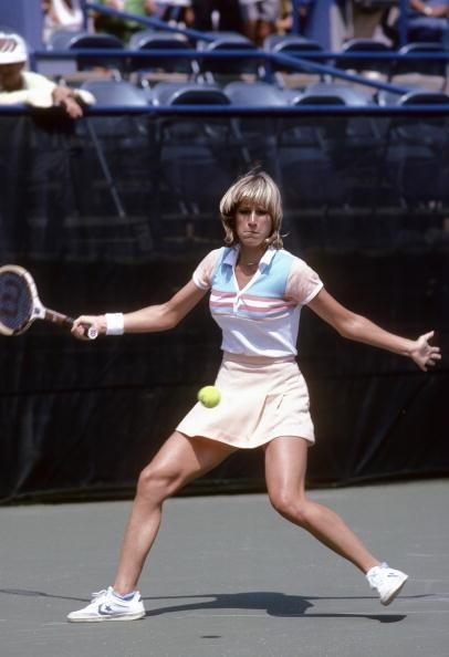 Chris Evert Lloyd of the USA plays during the early rounds of the 1980 U.S. Open tennis tournament.