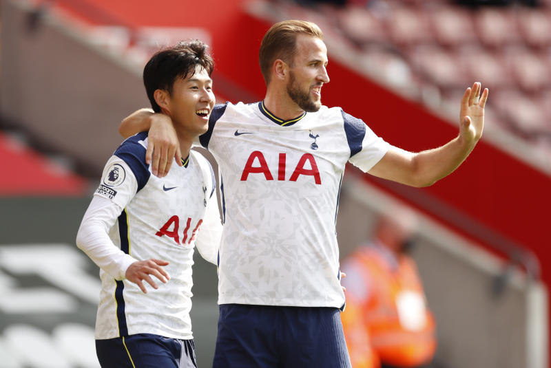 Son Heung-min (left) scored four goals in Tottenham's 5-2 win over Southampton. Harry Kane (right) assisted on each. (Andrew Boyers/Reuters)