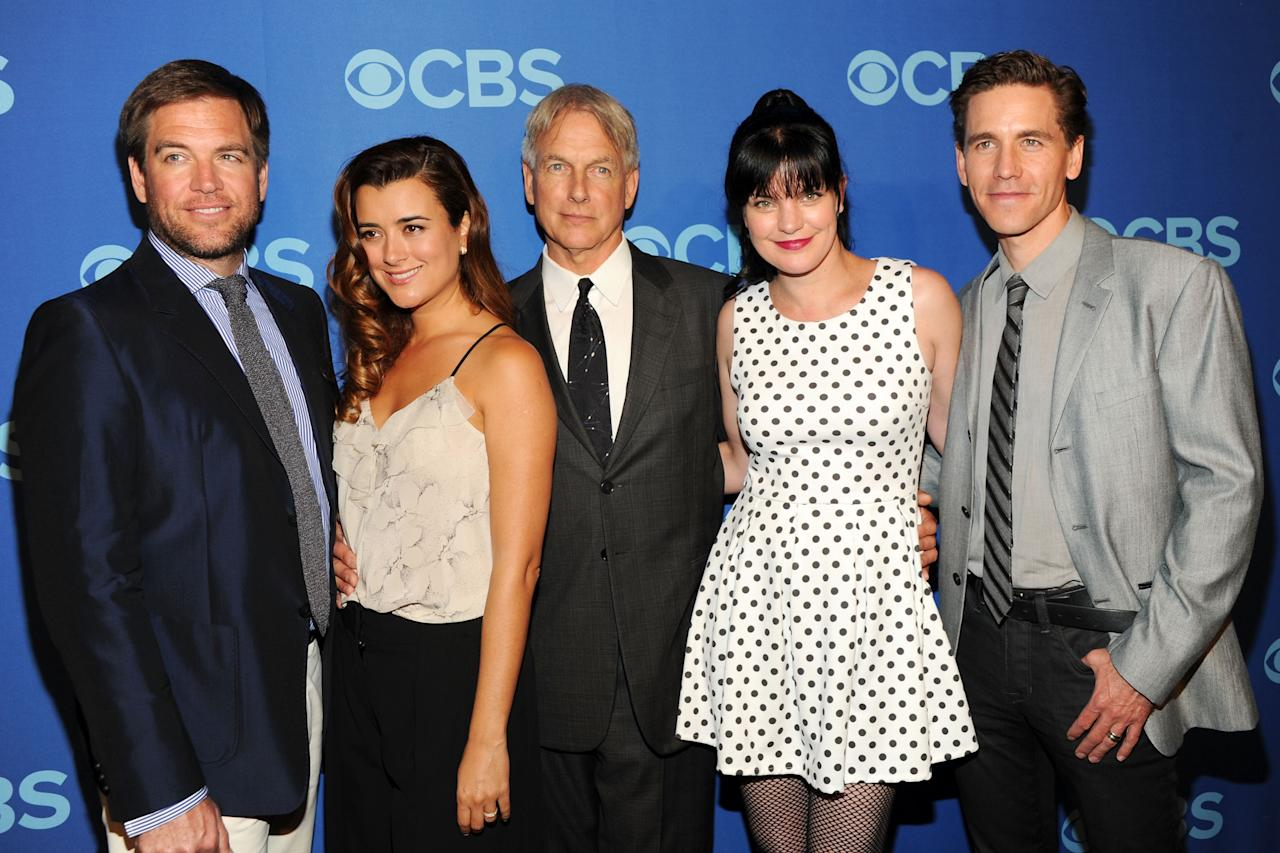 NEW YORK, NY - MAY 15:  (L-R) Cast of NCIS Michael Weatherly, Cote de Pable, Mark Harmon, Pauley Perrette and Brian Dietzen attend CBS 2013 Upfront Presentation at The Tent at Lincoln Center on May 15, 2013 in New York City.  (Photo by Ben Gabbe/Getty Images)