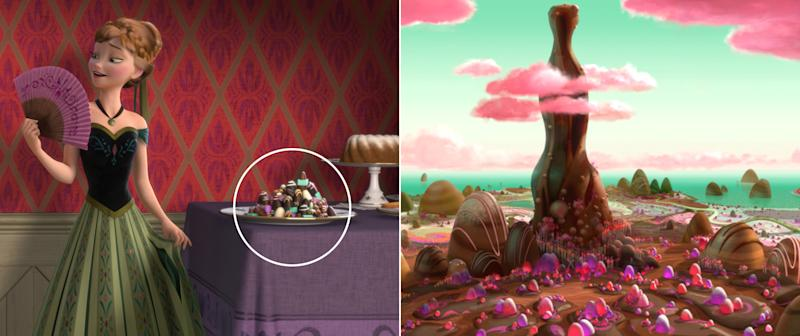 "Anna's affinity for chocolate summons sweet treats all the way from the land of Sugar Rush in ""Wreck-It Ralph."""