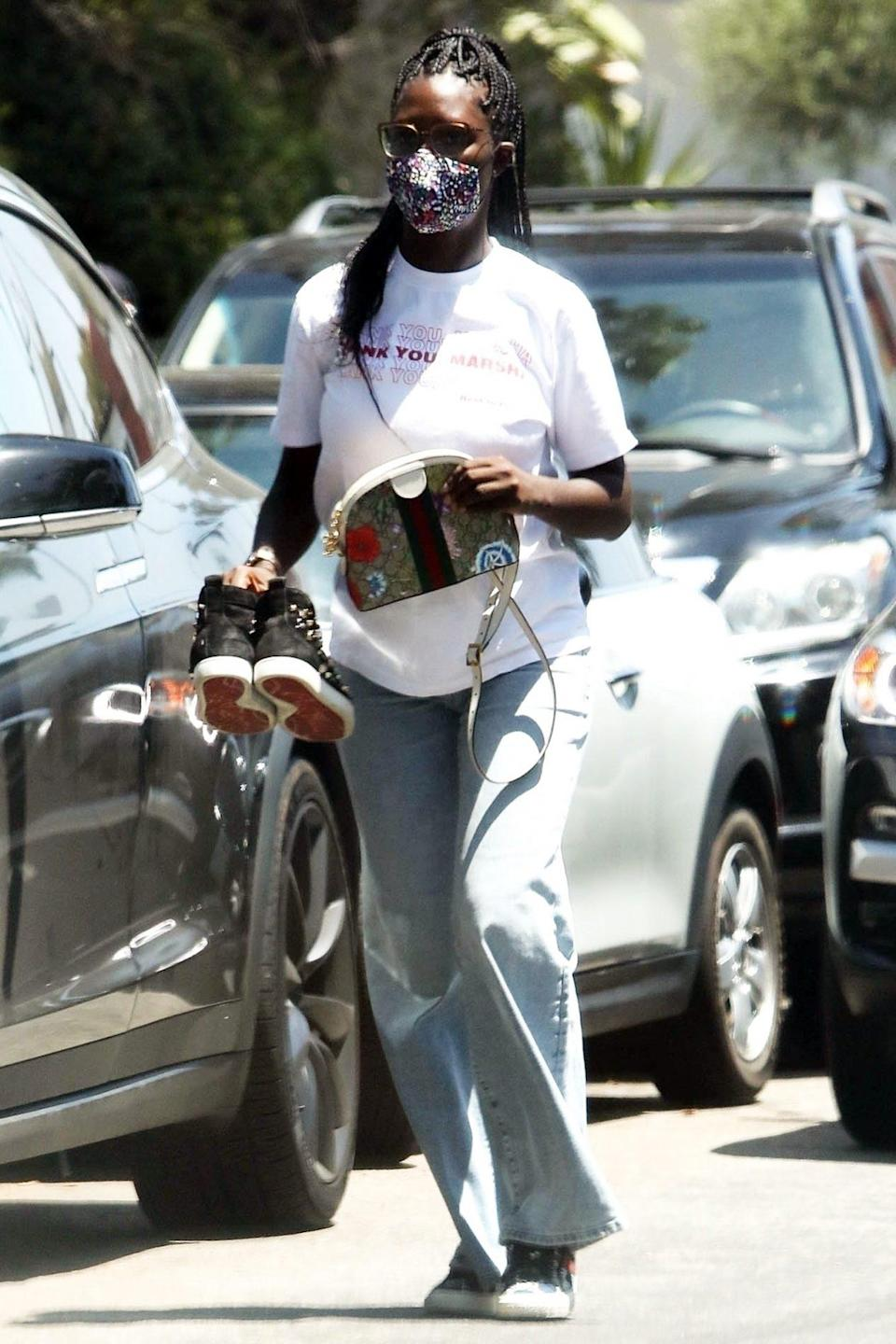 <p><i>Queen & Slim </i>star and new mom Jodie Turner-Smith looks super casual while running errands in a mask in L.A. on Sunday. </p>