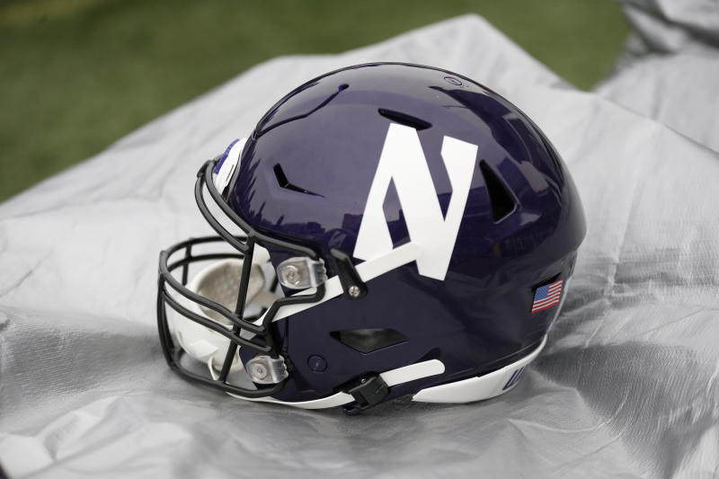 EVANSTON, ILLINOIS - OCTOBER 26: A Northwestern Wildcats helmet on the sidelines in the game against the Iowa Hawkeyes at Ryan Field on October 26, 2019 in Evanston, Illinois. (Photo by Justin Casterline/Getty Images)