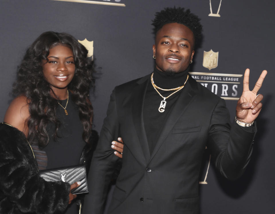 Marquise Goodwin of the San Francisco 49ers, right, and Morgan Goodwin arrive at the NFL Honors awards show in February. (AP)