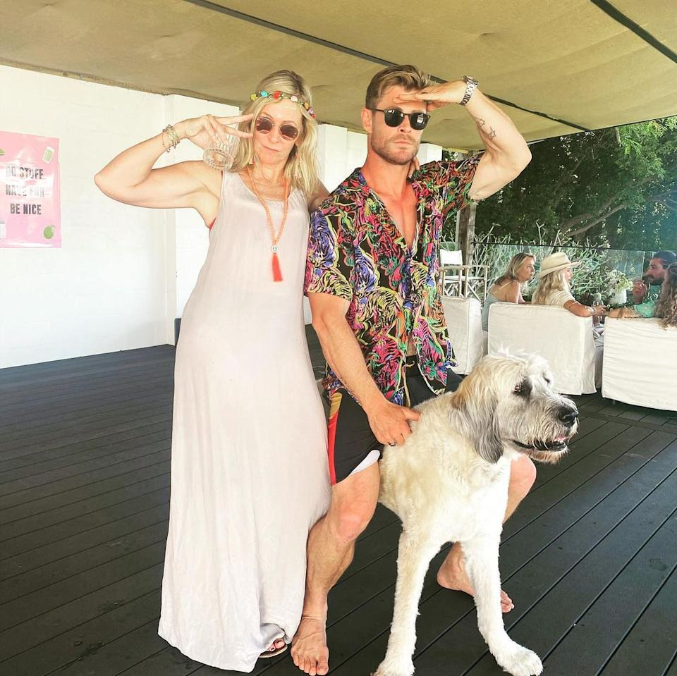 Chris Hemsworth and his mum Leonie with their dog