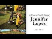 """<p>Lopez stars in Coach's latest campaign with her mother Guadalupe 'Lupe' and children Max and Emme. In a video of the campaign shared on YouTube, the singer glows in an all-yellow knitted ensemble with her hair tied back into a ponytail.</p><p>'Everyone can be their authentic selves around each other,' Lopez says of her family. </p><p><a href=""""https://youtu.be/vAeD0KXyRq0"""" rel=""""nofollow noopener"""" target=""""_blank"""" data-ylk=""""slk:See the original post on Youtube"""" class=""""link rapid-noclick-resp"""">See the original post on Youtube</a></p>"""
