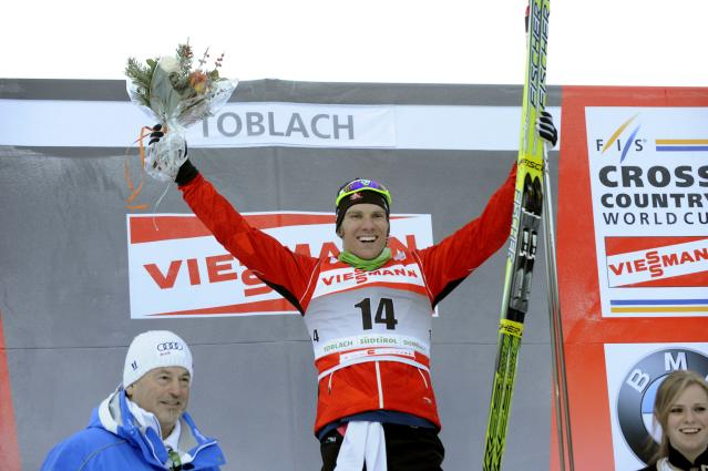 TOBLACH, ITALY - JANUARY 5: (FRANCE OUT) Devon Kershaw of Canada takes 1st place during the FIS Cross-Country World Cup Tour de Ski Men's Sprint on January 5, 2011 in Toblach, Italy. (Photo by Philippe Montigny/Agence Zoom/Getty Images)
