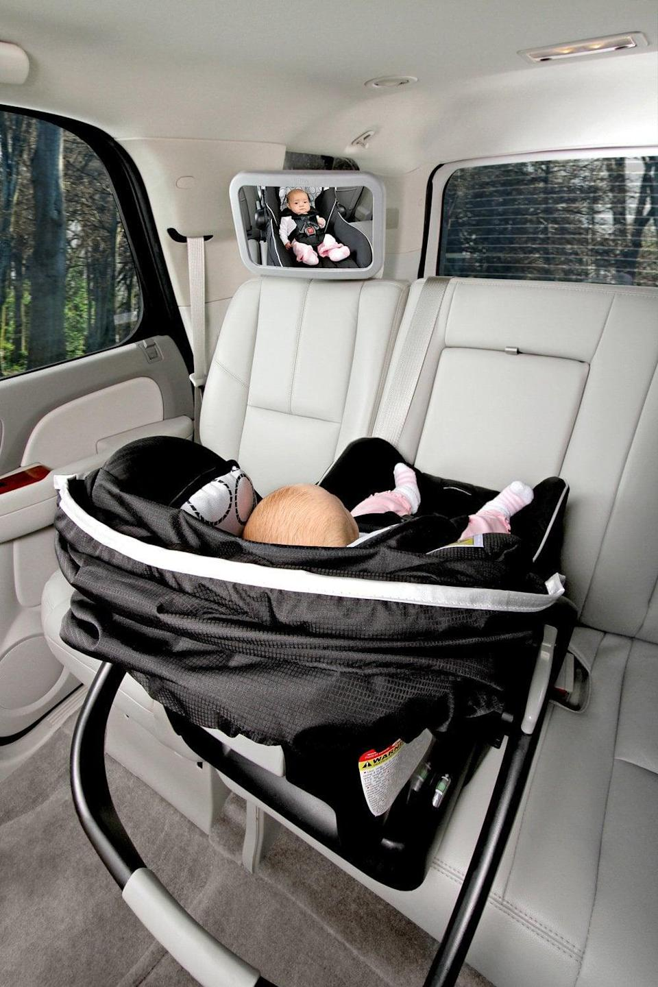 <p>If you fear driving alone with your little one in the backseat, <span>Britax's Back Seat Mirror</span> ($35) alleviates much of the stress of the unknown when your new baby is behind you.</p>