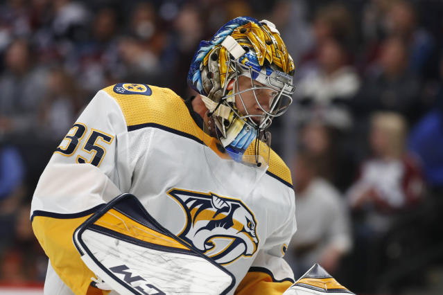 Nashville Predators goaltender Pekka Rinne pauses after giving up a goal to Colorado Avalanche defenseman Cale Makar during the first period of an NHL hockey game Thursday, Nov. 7, 2019, in Denver. (AP Photo/David Zalubowski)