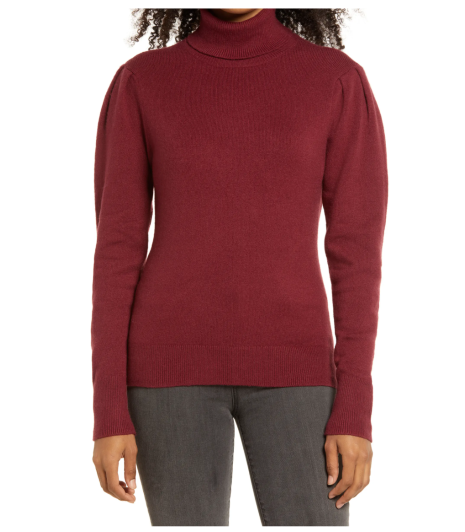 Rachell Parcell Puff Shoulder Turtleneck Sweater. Image via Nordstrom.