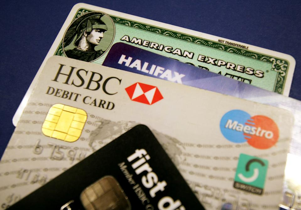 A generic picture of a some credit cards and debit cards. BANKG REUTERS/Catherine Benson  CRB