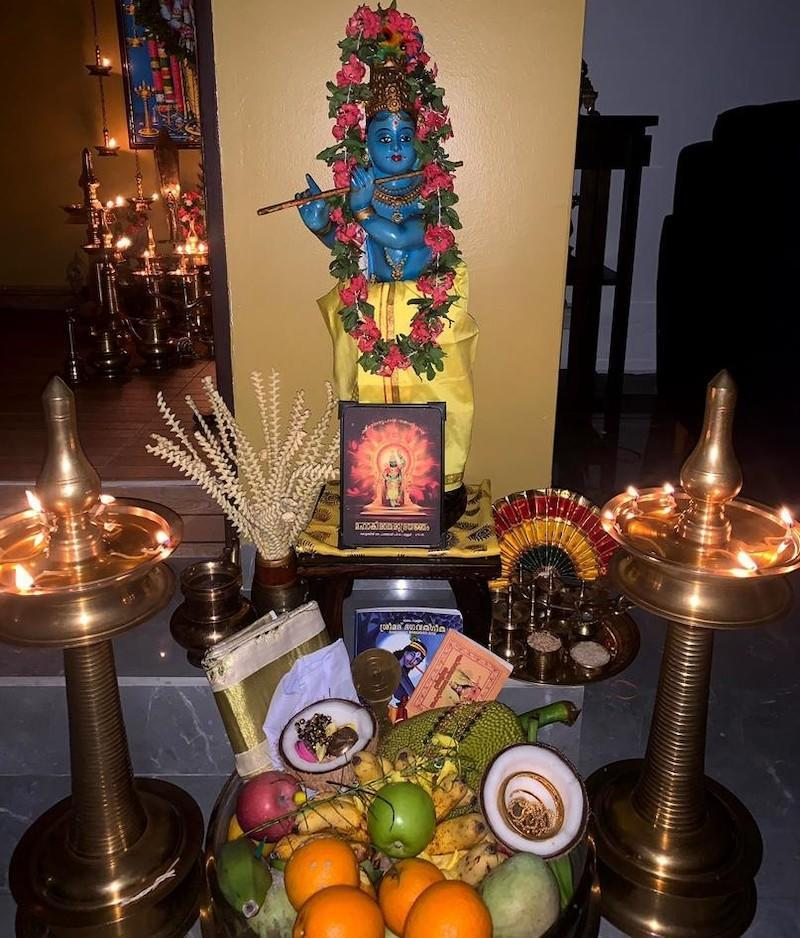 Vishukkani is a tray of auspicious items which is the first thing the family will see on the morning of Vishu. — Picture courtesy of Sivalal Sadasivan