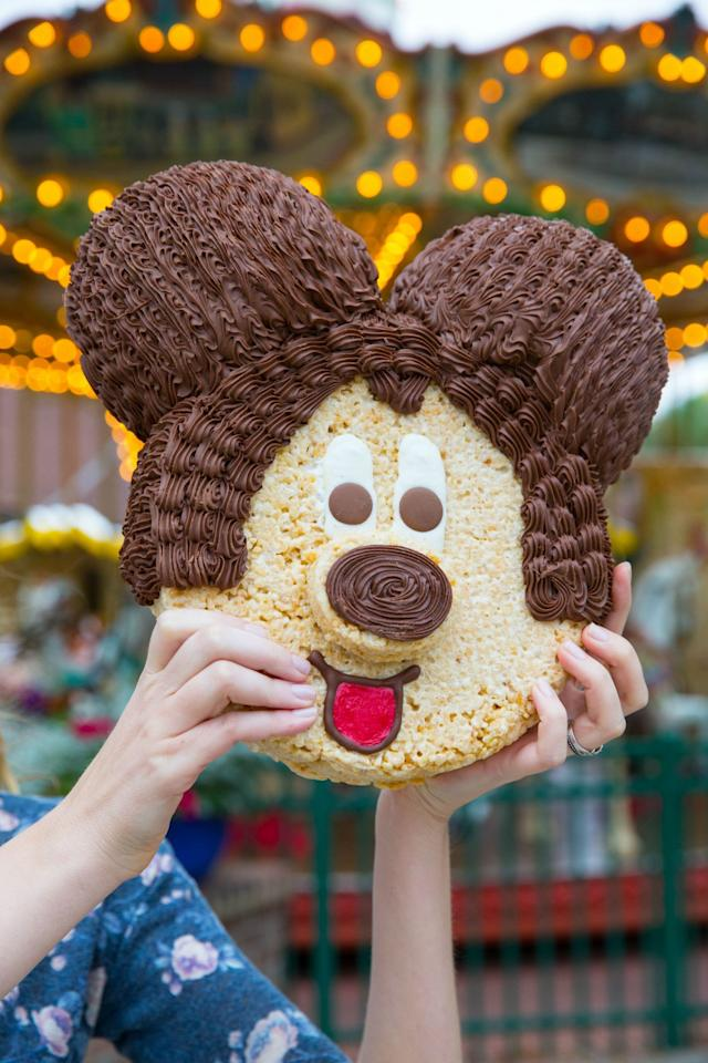 <p>You can — and should — preorder one of these massive rice crispy cakes: Mickey's head weighs in at 7 pounds! We won't even tell if you don't have a cause for celebration. Isn't finding a giant Mickey head enough of one?</p><p><strong>Where to Find It:</strong> Goofy's Candy Company in Disney Springs</p>
