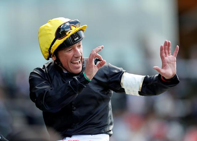 Horse Racing - Royal Ascot - Ascot Racecourse, Ascot, Britain - June 21, 2018 Frankie Dettori celebrates after winning the 4.20 Gold Cup with Stradivarius Action Images via Reuters/Andrew Boyers