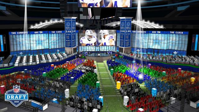 This computer rendering provided by the NFL shows the view looking towards the stage of the proposed NFL Draft at AT&T Stadium in Arlington, Texas. The NFL is bringing its Big D, the draft, to Dallas Cowboys owner Jerry Jones' palace. This draft, the first in a stadium, will pay homage in so many ways to the cliche that everything is bigger in Texas. (NFL via AP)