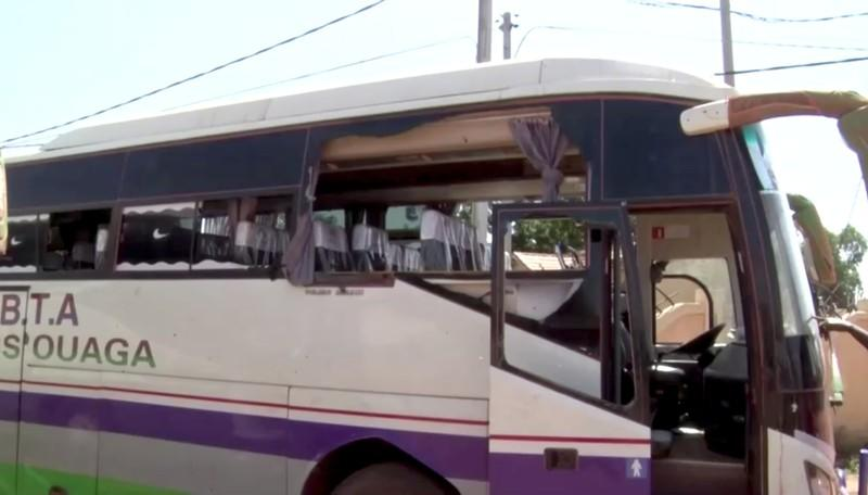 Damaged bus is seen after it was attacked near Fada N'gourma
