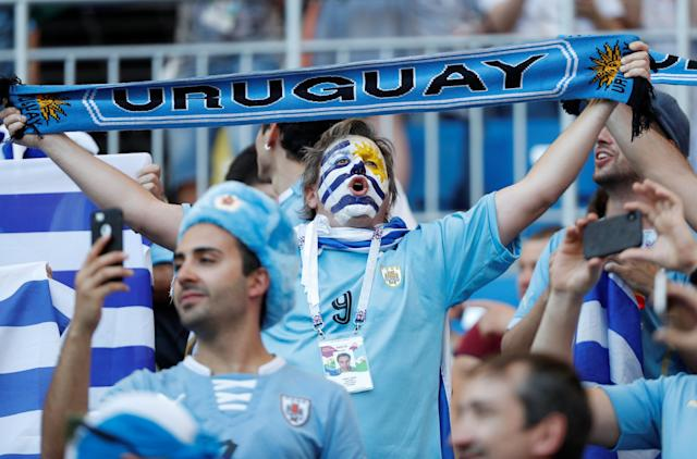 Soccer Football - World Cup - Group A - Uruguay vs Saudi Arabia - Rostov Arena, Rostov-on-Don, Russia - June 20, 2018 Uruguay fans inside the stadium before the match REUTERS/Max Rossi
