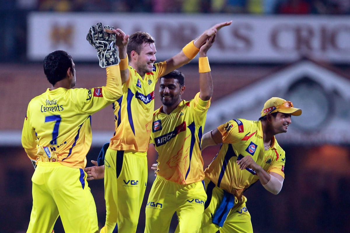Ben Laughlin celebrates the wicket of Ambati Rayudu during match 5 of of the Pepsi Indian Premier League between The Chennai Superkings and the Mumbai Indians held at the MA Chidambaram Stadiumin Chennai on the 6th April 2013. Photo by Jacques Rossouw-IPL-SPORTZPICS..Use of this image is subject to the terms and conditions as outlined by the BCCI. These terms can be found by following this link:..https://ec.yimg.com/ec?url=http%3a%2f%2fwww.sportzpics.co.za%2fimage%2fI0000SoRagM2cIEc&t=1490675168&sig=F78vXvBqX.1vngGTydSY1Q--~C