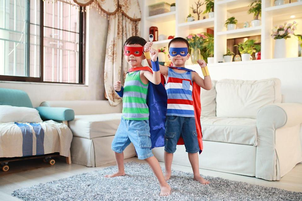"""<p>Don't want to choose between Marvel and DC? Dress as DIY superheroes instead. Before putting on their masks and capes, the boys can decide what their superpowers are and how they save the world. </p><p><a class=""""link rapid-noclick-resp"""" href=""""https://www.amazon.com/AIMIKE-Superhero-Cosplay-Stickers-Multicolor/dp/B074VZX55Z/?tag=syn-yahoo-20&ascsubtag=%5Bartid%7C10055.g.33417241%5Bsrc%7Cyahoo-us"""" rel=""""nofollow noopener"""" target=""""_blank"""" data-ylk=""""slk:SHOP EYE MASKS"""">SHOP EYE MASKS</a></p><p><strong>RELATED: </strong><a href=""""https://www.goodhousekeeping.com/holidays/halloween-ideas/g1709/homemade-halloween-costumes/"""" rel=""""nofollow noopener"""" target=""""_blank"""" data-ylk=""""slk:56 Easy Homemade Halloween Costumes for Kids and Adults"""" class=""""link rapid-noclick-resp"""">56 Easy Homemade Halloween Costumes for Kids and Adults</a></p>"""