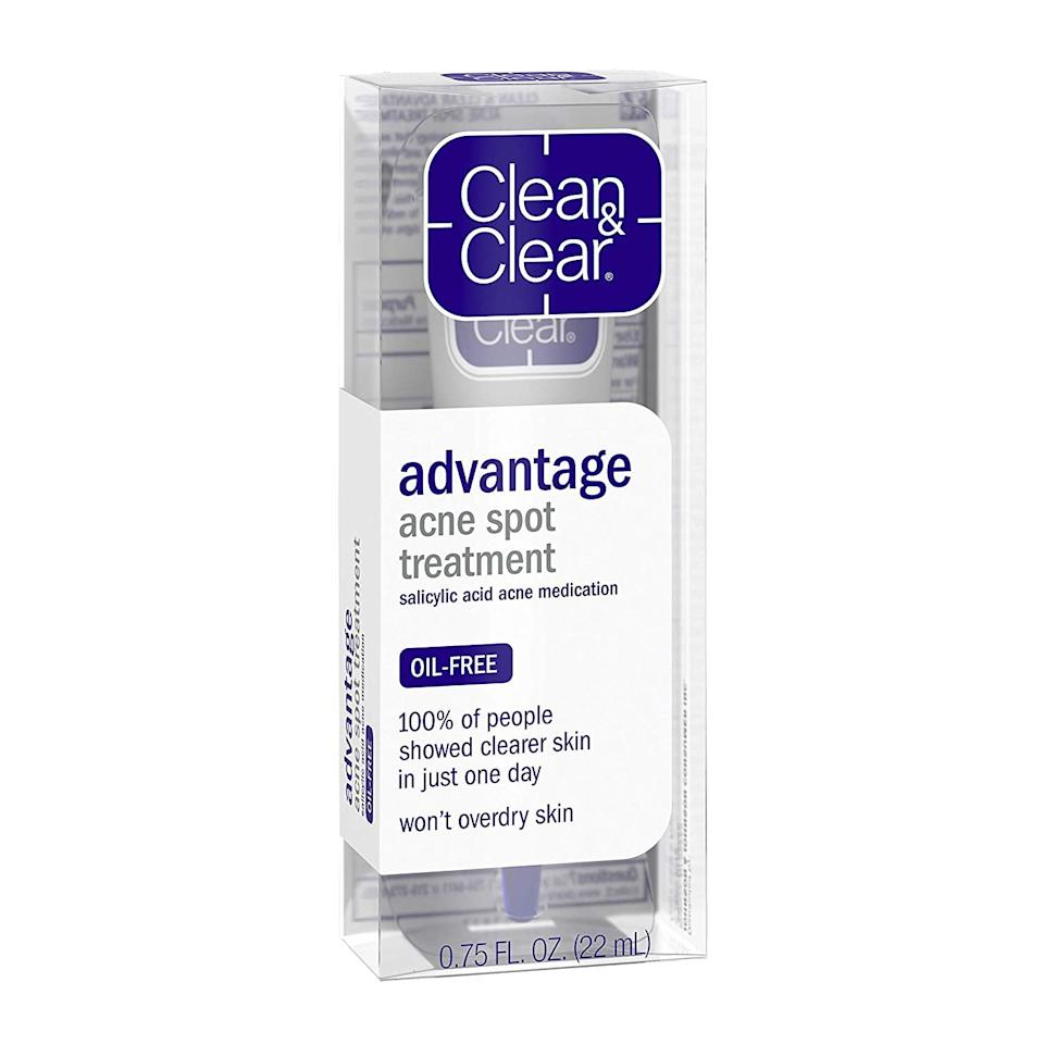 "<p>With two percent of salicylic acid and an oil-free formula, the <a href=""https://www.popsugar.com/buy/Clean-amp-Clear-Advantage-Acne-Spot-Treatment-555928?p_name=Clean%20%26amp%3B%20Clear%20Advantage%20Acne%20Spot%20Treatment&retailer=amazon.com&pid=555928&price=10&evar1=bella%3Aus&evar9=47299237&evar98=https%3A%2F%2Fwww.popsugar.com%2Fphoto-gallery%2F47299237%2Fimage%2F47299409%2FClean-Clear-Advantage-Acne-Spot-Treatment&list1=acne&prop13=api&pdata=1"" rel=""nofollow"" data-shoppable-link=""1"" target=""_blank"" class=""ga-track"" data-ga-category=""Related"" data-ga-label=""http://www.amazon.com/Clean-Clear-Advantage-Treatment-Medication/dp/B00027DDOQ/?tag=byrdie01-20&amp;ascsubtag=4584989%7Cnb0fab560ae3b4590be9d2f0016c2503317"" data-ga-action=""In-Line Links"">Clean &amp; Clear Advantage Acne Spot Treatment</a> ($10) is an easy and superaffordable option for those looking to help clear up their skin. This treatment can also be used on blackheads and whiteheads. Pick up one at your nearest drugstore, and get ready to relax; this treatment will take care of the rest!</p>"