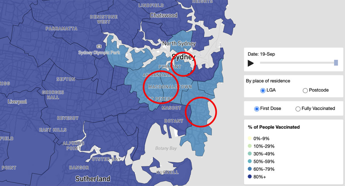 The three Sydney suburbs lagging behind the vaccination goal