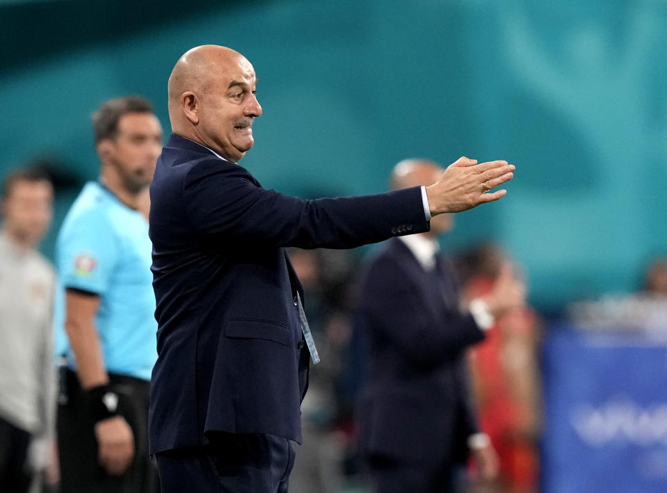 Russia's manager Stanislav Cherchesov gestures during the Euro 2020 soccer championship group B match between Russia and Belgium at the Saint Petersburg stadium in St. Petersburg, Russia, Saturday, June 12, 2021. (AP Photo/Dmitry Lovetsky, Pool)