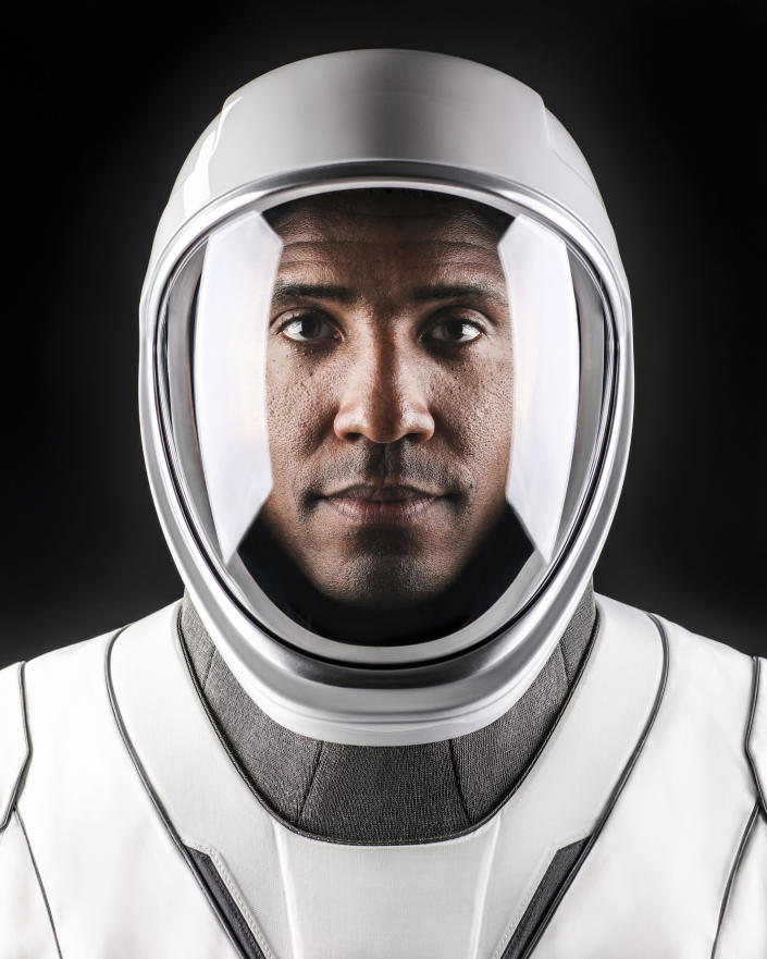 This undated photo made available by SpaceX in October 2020 shows NASA astronaut Victor Glover in a space suit at SpaceX headquarters in Hawthorne, Calif. (Ashish Sharma/SpaceX via AP)