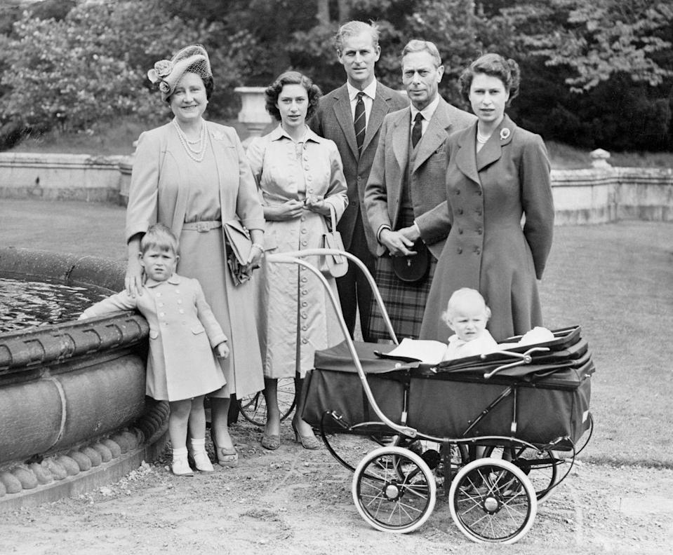 <p>The royal family posed for an outdoor portrait at Balmoral Castle in Scotland. From left to right: Prince Charles, Queen Elizabeth, Princess Margaret, the Duke of Edinburgh, King George VI, Princess Elizabeth, and Princess Anne.</p>