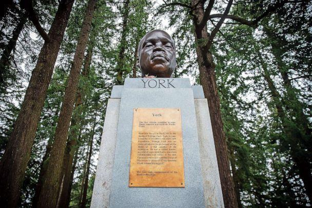 PHOTO: A bust of York, a member of the Lewis and Clark expedition, is seen on Mount Tabor in southeast Portland, Ore., Feb. 21, 2021, after it appeared there the day before. (Mark Graves/The Oregonian via AP)