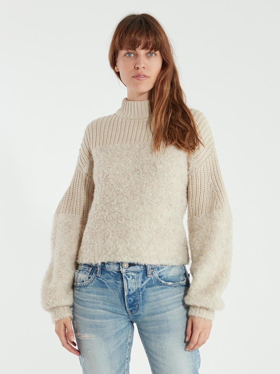 <p>It doesn't get any warmer than this <span>Rebecca Minkoff Chase Rib Turtleneck Sweater</span> ($106, originally $178). Combining a chunky turtleneck with fuzzy shearling, it was made to brave the cold in style. </p>