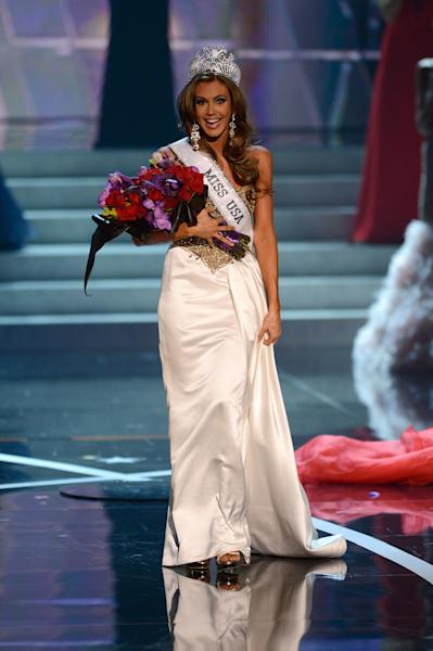 Miss Connecticut Erin Brady reacts after winning the Miss USA 2013 pageant, Sunday, June 16, 2013, in Las Vegas. (AP Photo/Jeff Bottari)