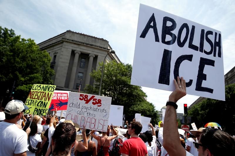 We've seen no concrete policy proposals for what immigration enforcement should or would really look like in a post-ICE world. (Joshua Roberts / Reuters)