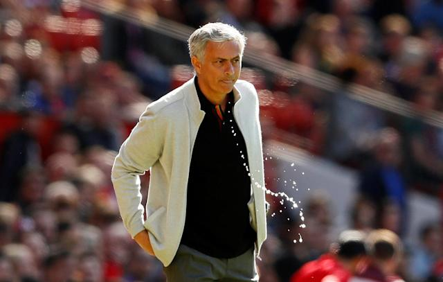 "Soccer Football - Premier League - Manchester United vs Watford - Old Trafford, Manchester, Britain - May 13, 2018 Manchester United manager Jose Mourinho Action Images via Reuters/Jason Cairnduff EDITORIAL USE ONLY. No use with unauthorized audio, video, data, fixture lists, club/league logos or ""live"" services. Online in-match use limited to 75 images, no video emulation. No use in betting, games or single club/league/player publications. Please contact your account representative for further details."